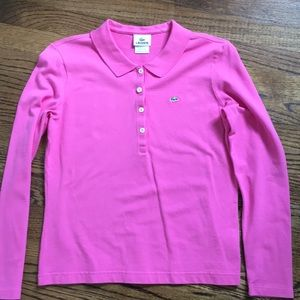 Lacoste Women's Polo Shirt- Long Sleeve nice pink
